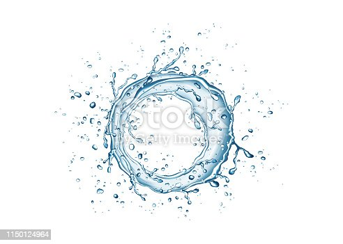 859844580 istock photo Blue circle water splash and drops isolated on white  background. 1150124964