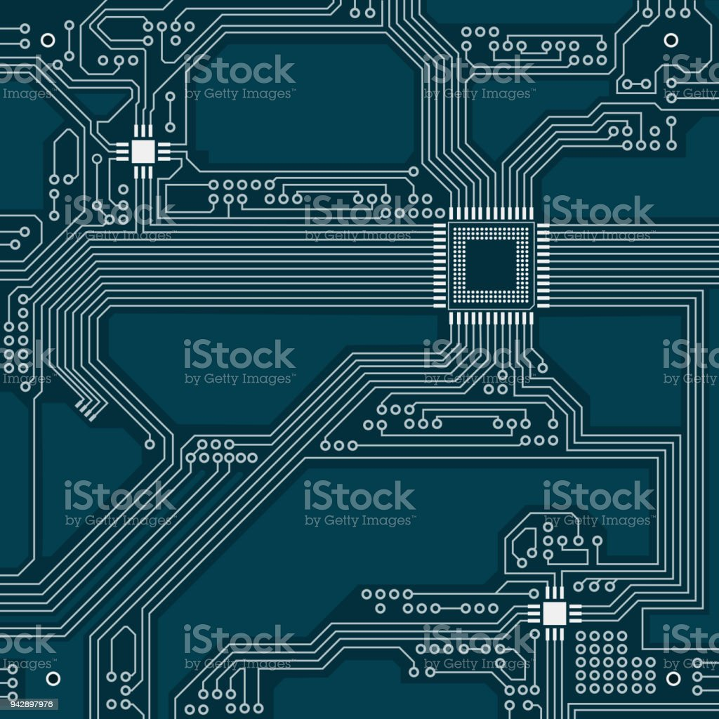 Blue Circuit Board Concept High Tech Background Pcb Vector Photos Circuits Computers Components Technology Image Illustration Royalty