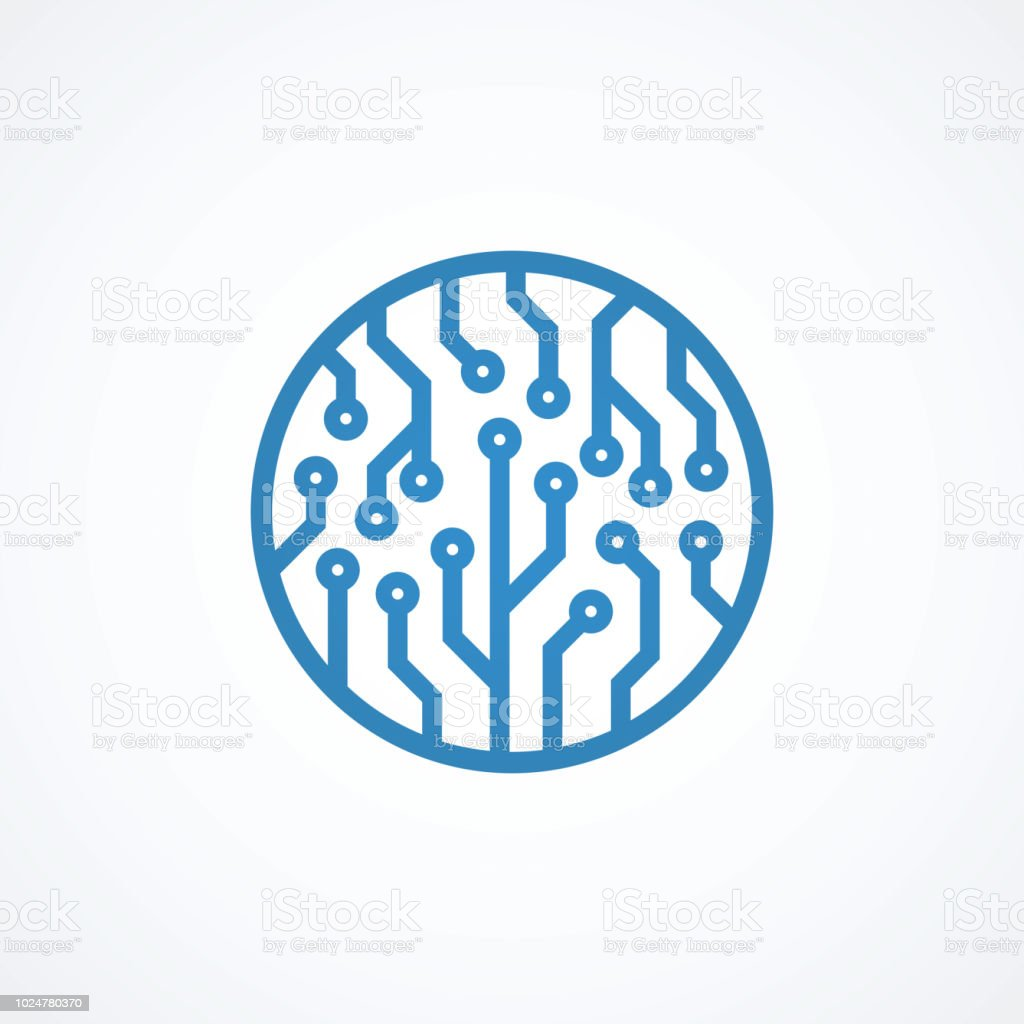 Blue Circuit Board Logo Design Stock Vector Art More Images Of Picture The Royalty Free
