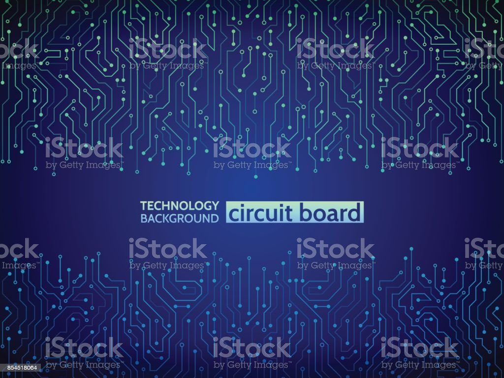 Blue circuit board vector illustration. - Royalty-free Abstract stock vector