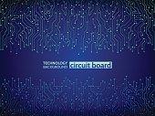 High-tech technology background texture. Blue circuit board vector illustration.