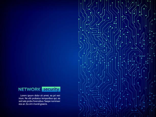 mavi devre kartı vektör çizim. - bilgisayar yongası stock illustrations