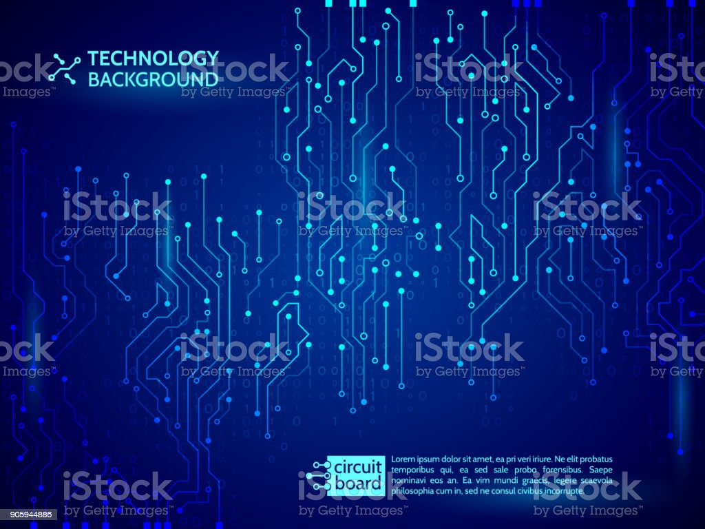 Blue Circuit Board Vector Illustration Stock Art More Royaltyfree Images Binary Code Royalty Free