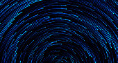 Blue circular sparkling background. Abstract starry sky or outer space. Vector rotating lines with light effect