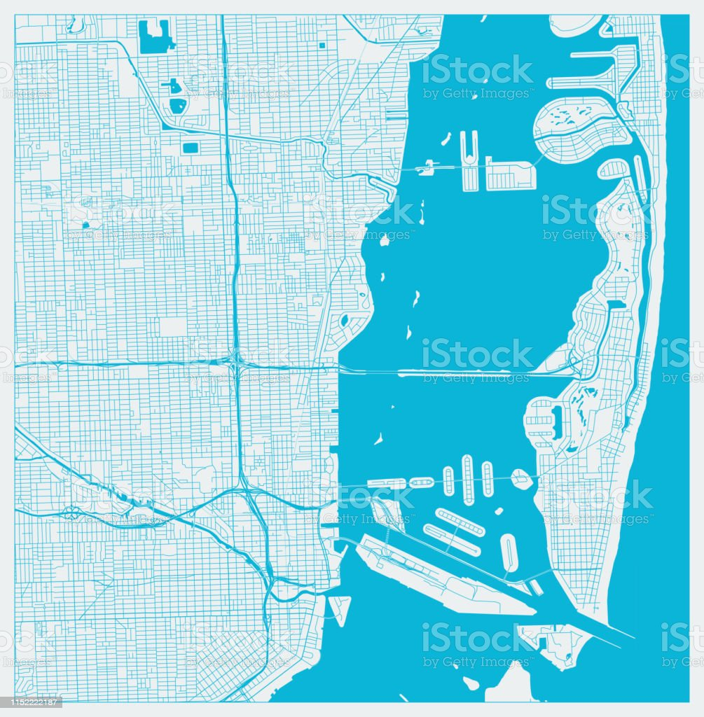 blue city map miami florida us stock vektor art und mehr