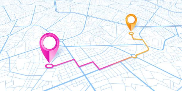 blue city-map-navigation-design - karte navigationsinstrument stock-grafiken, -clipart, -cartoons und -symbole