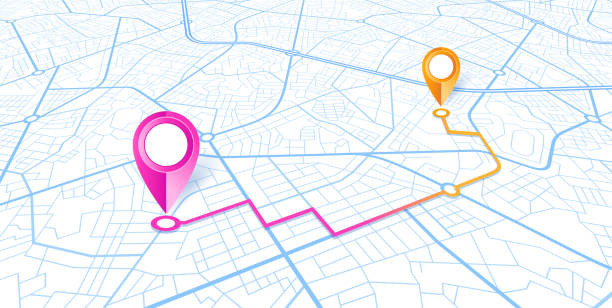 blue city map navigation design - landmarks stock illustrations
