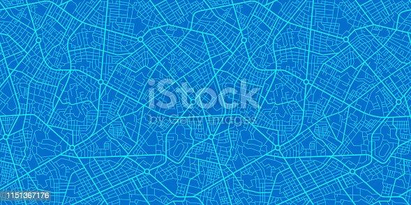 istock Blue City Map 1151367176