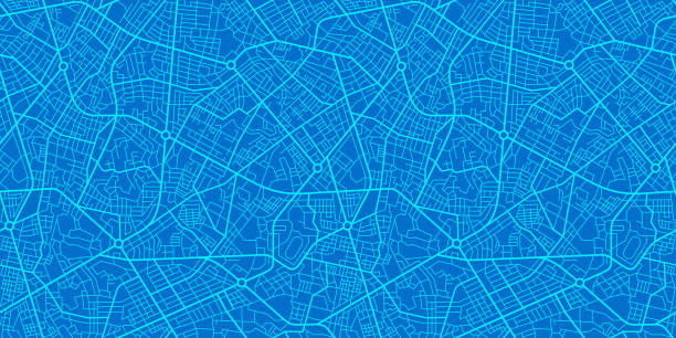 Blue City Map Blue City Map seamless texture cityscape stock illustrations