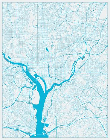 Blue City Map, Washington DC, District of Columbia, US