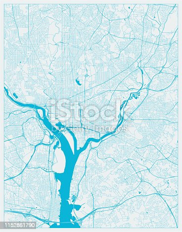Blue City Map, Washington DC, District of Columbia, US