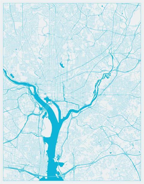 Blue City Map, Washington DC, District of Columbia, US Blue City Map, Washington DC, District of Columbia, US washington dc stock illustrations