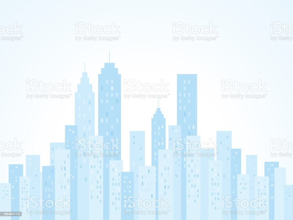 blue City Skyline with skyscraper buildings illustration silhouette
