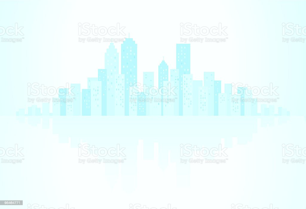 Blue City Skyline, with water reflection silhouette illustration vector art illustration