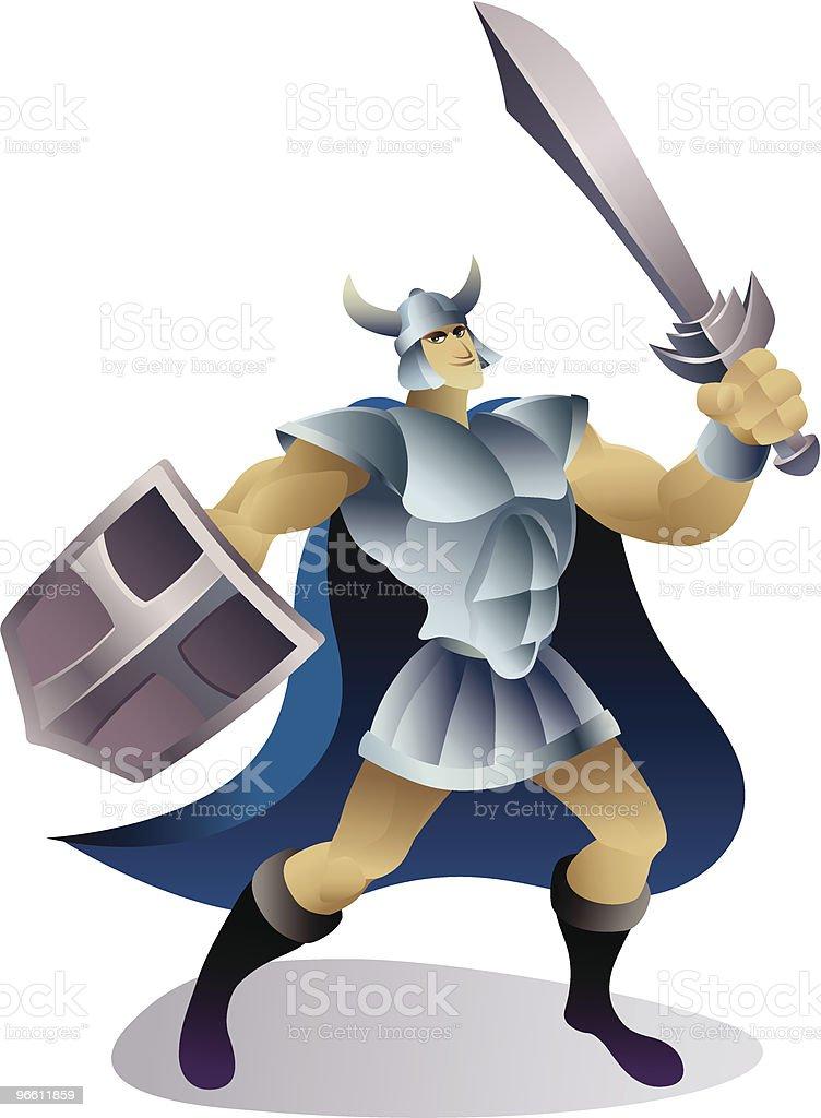 blue cloak warrior - Royaltyfri Arbetshjälm vektorgrafik