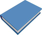 Blue closed hardcover book. Three-dimensional book