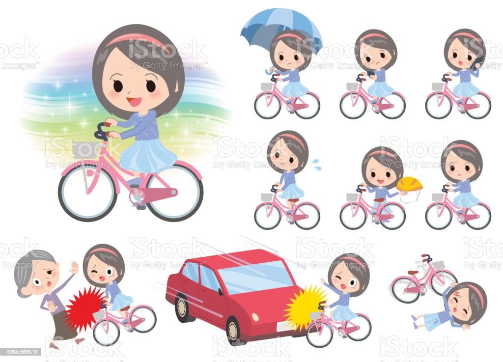 Blue clothes headband girl ride on city bicycle royalty-free blue clothes headband girl ride on city bicycle stock vector art & more images of bicycle