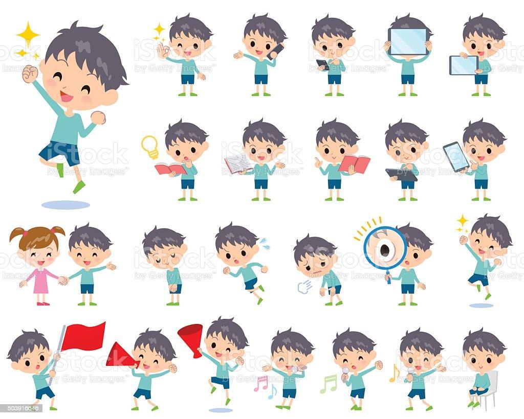 ブルーの衣類少年 2 ベクターアートイラスト