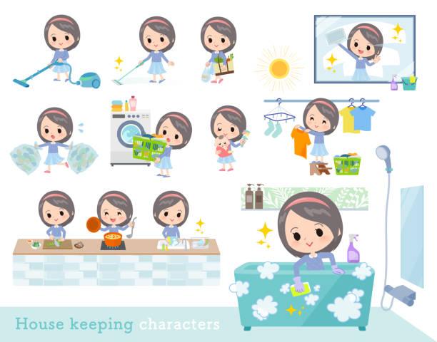 bildbanksillustrationer, clip art samt tecknat material och ikoner med blå kläder girl_housekeeping - japanese bath woman