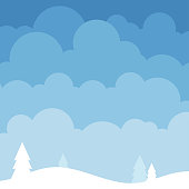Blue cloud on sky nature background with white mountain and pine trees.
