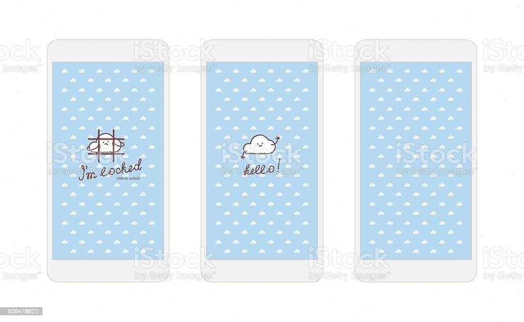 Iphone Blu E Nuvole Sfondo Schermata Di Blocco Immagini Vettoriali