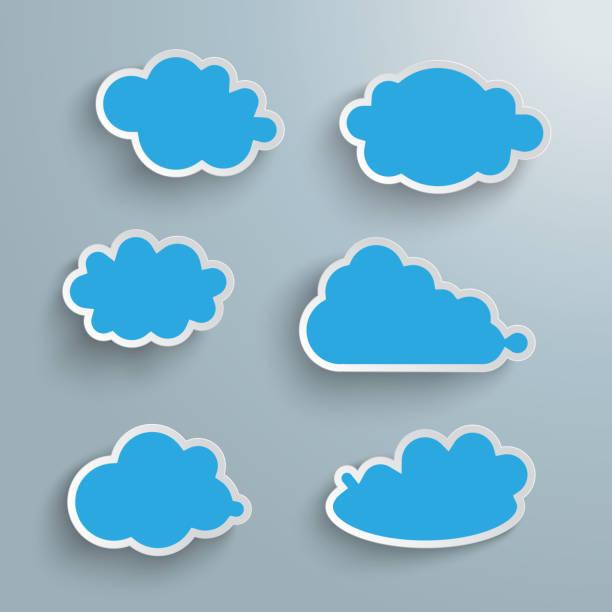 illustrations, cliparts, dessins animés et icônes de nuages bleu set piad - nuage 6