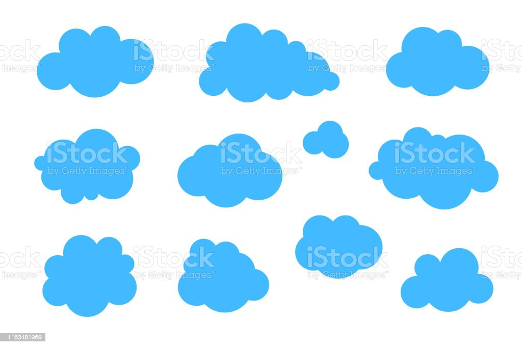 Blue clouds set - vector collection of various shapes. Blue clouds set - vector collection of various shapes. Above stock vector