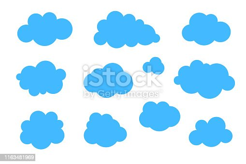 Blue clouds set - vector collection of various shapes.