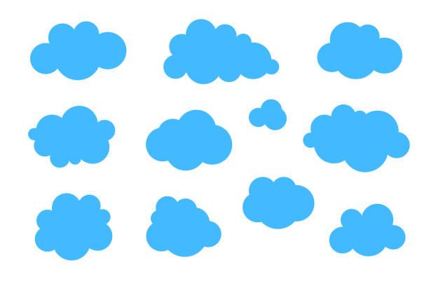 파란색 구름 세트 - 다양한 모양의 벡터 컬렉션입니다. - 구름 stock illustrations