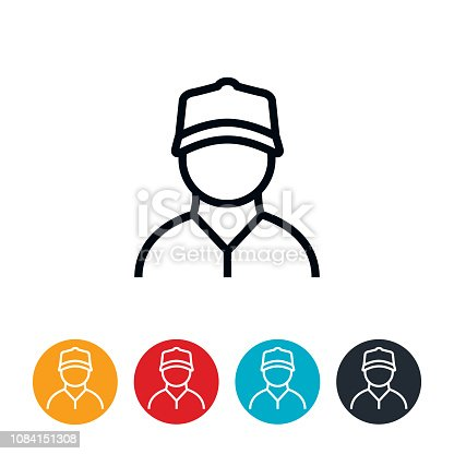 An icon of a blue collar worker. The icons have editable strokes/lines.