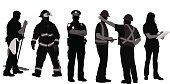 A vector silhouette illustration of working professionals including a janitor, fireman, police officer, construction crew members, and a nurse.