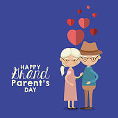 istock blue color background with caricature full body elderly couple embraced with floating hearts and text happy grandparents day 859916114