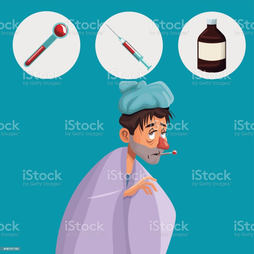 blue color background with cold sickness man half body icons medicine vector art illustration