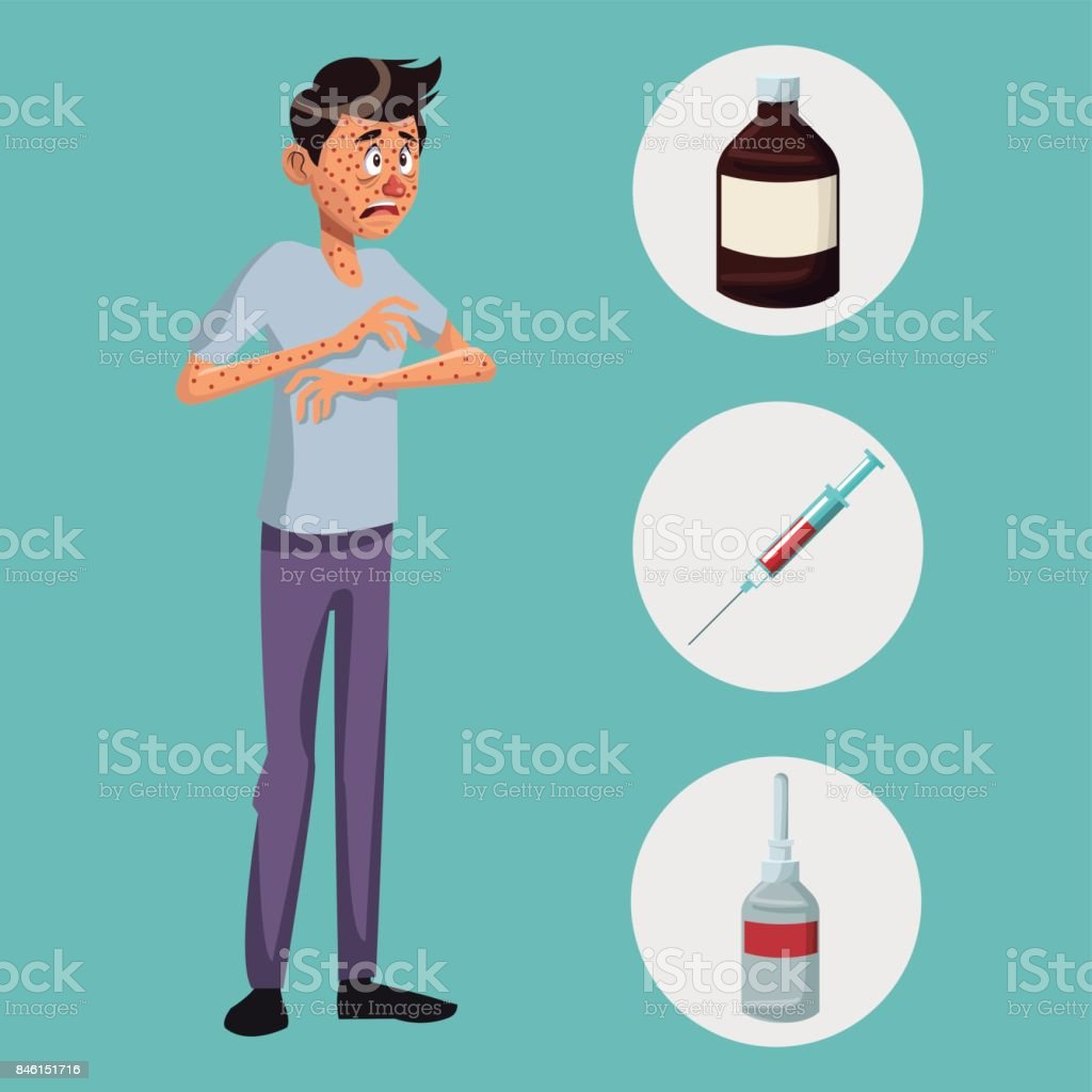 blue color background with rash sickness man full body icons medicine vector art illustration