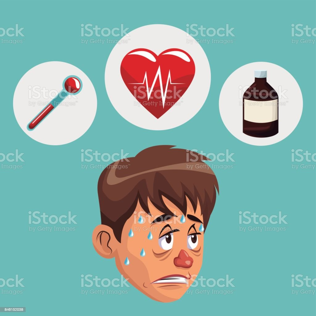 blue color background with sickness man face icons medicine vector art illustration