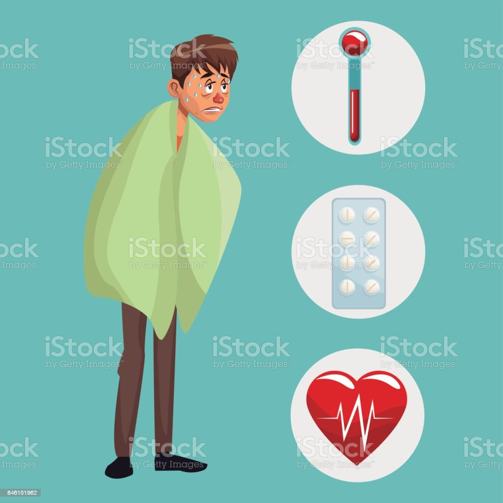 blue color background with sickness man full body icons medicine vector art illustration