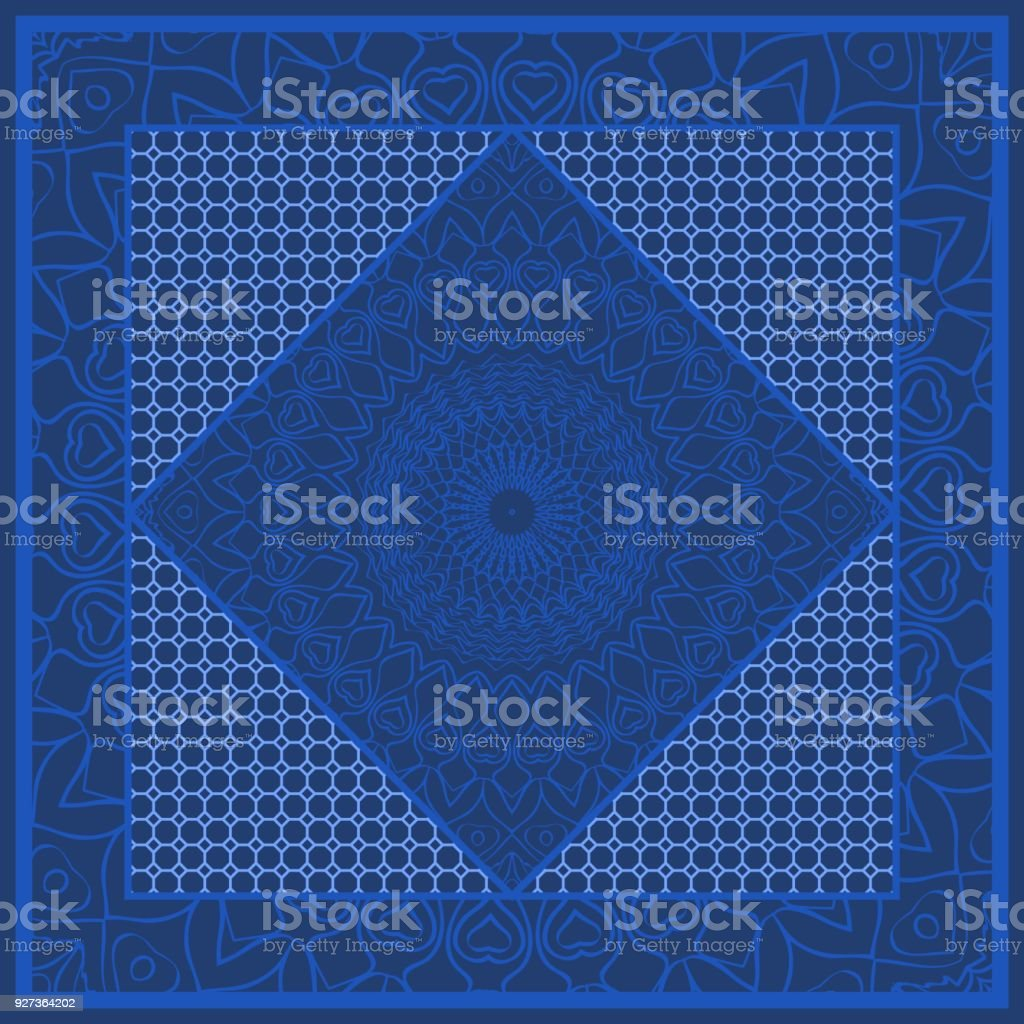 Blue color bandana print with tiling pattern floral style. Design for pillow, carpet, rug. vector illustration Blue color bandana print with tiling pattern floral style. Design for pillow, carpet, rug, silk neck scarf. vector Bandana stock vector