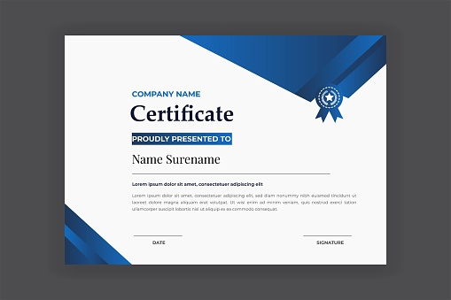Blue Color Certificate For Award And Education Vector Template Design