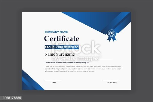istock Blue Color Certificate For Award And Education Vector Template Design 1268178359