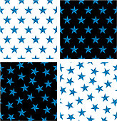 Blue Color Nautical Star Aligned & Random Seamless Pattern Set