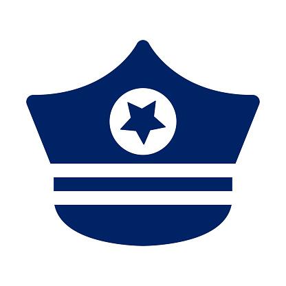 Blue color police hat icon
