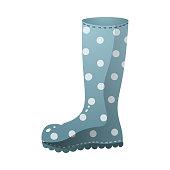 istock Blue color rain boots white dotted design 1209835611