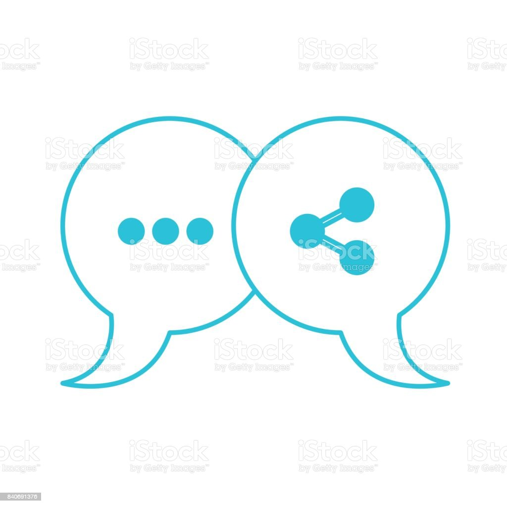 Blue Color Silhouette Of Pair Speech Bubbles With Symbols Of