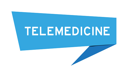 Blue color speech banner with word telemedicine on white background