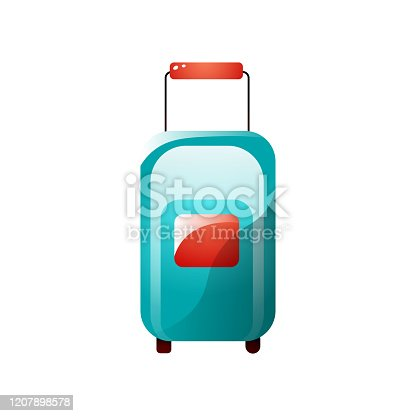istock Blue color travel bag with wheels and red handle 1207898578