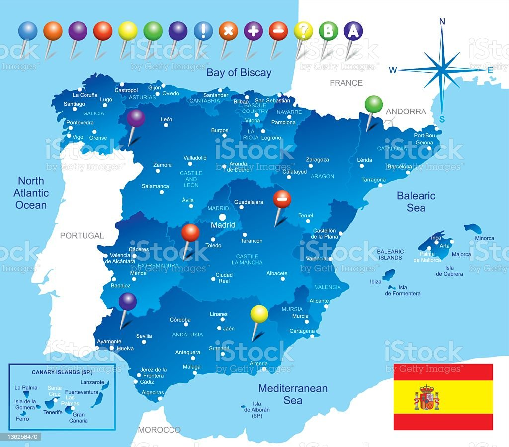 A blue colored map of the country of Spain  royalty-free stock vector art