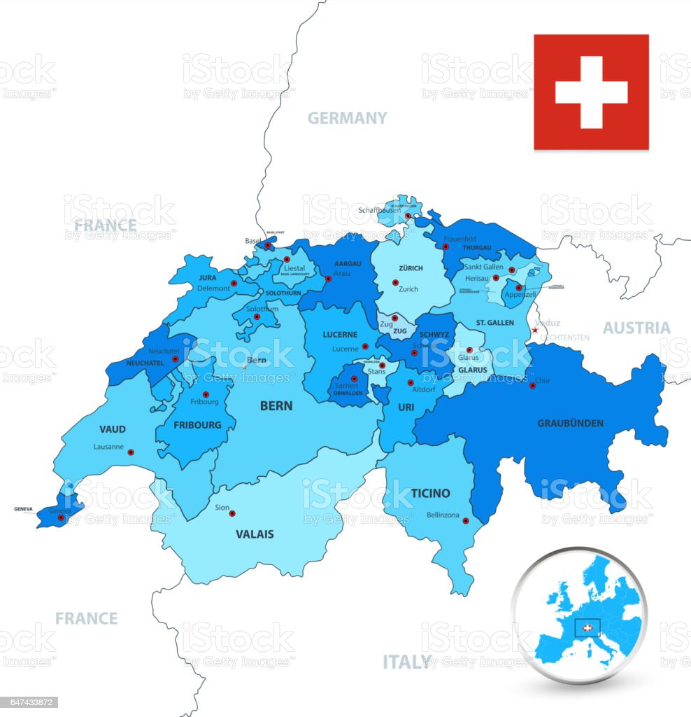 Blue colors Switzerland divisions map vector art illustration