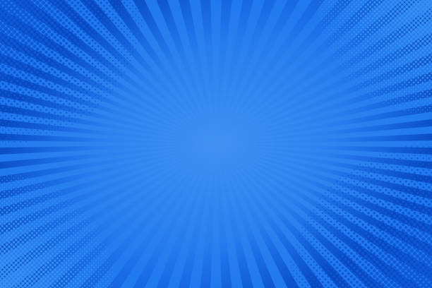 Blue comics rays background with halftones. Vector backdrop illustration. Lightbeams and dots on blue background. Abstract vector comics pop art template. blue backgrounds stock illustrations