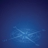 Blue compass travel discovery background. EPS 10 file. Transparency effects used on highlight elements.