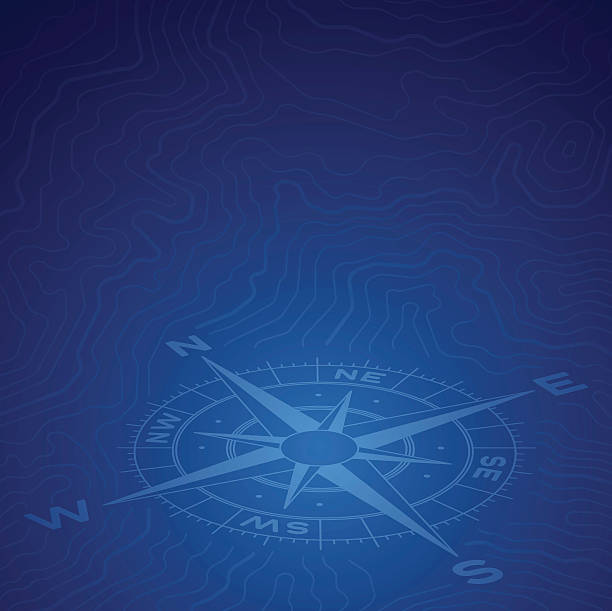 bildbanksillustrationer, clip art samt tecknat material och ikoner med blue compass topographic background - map oceans
